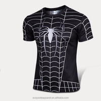 2016 spider web Tshirt wholesale Polyester Stretch Mens Muscle Tee shirts