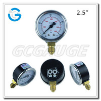 High quality 2.5 inch black steel case brass internal CNG gauge for pressure