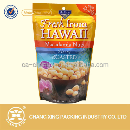 Gloss surface plastic laminated food packaging bag for nuts with resealable zipper