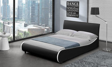 S-shaped Design Bedroom Furniture Soft PU Leather Double Bed Frame 1108