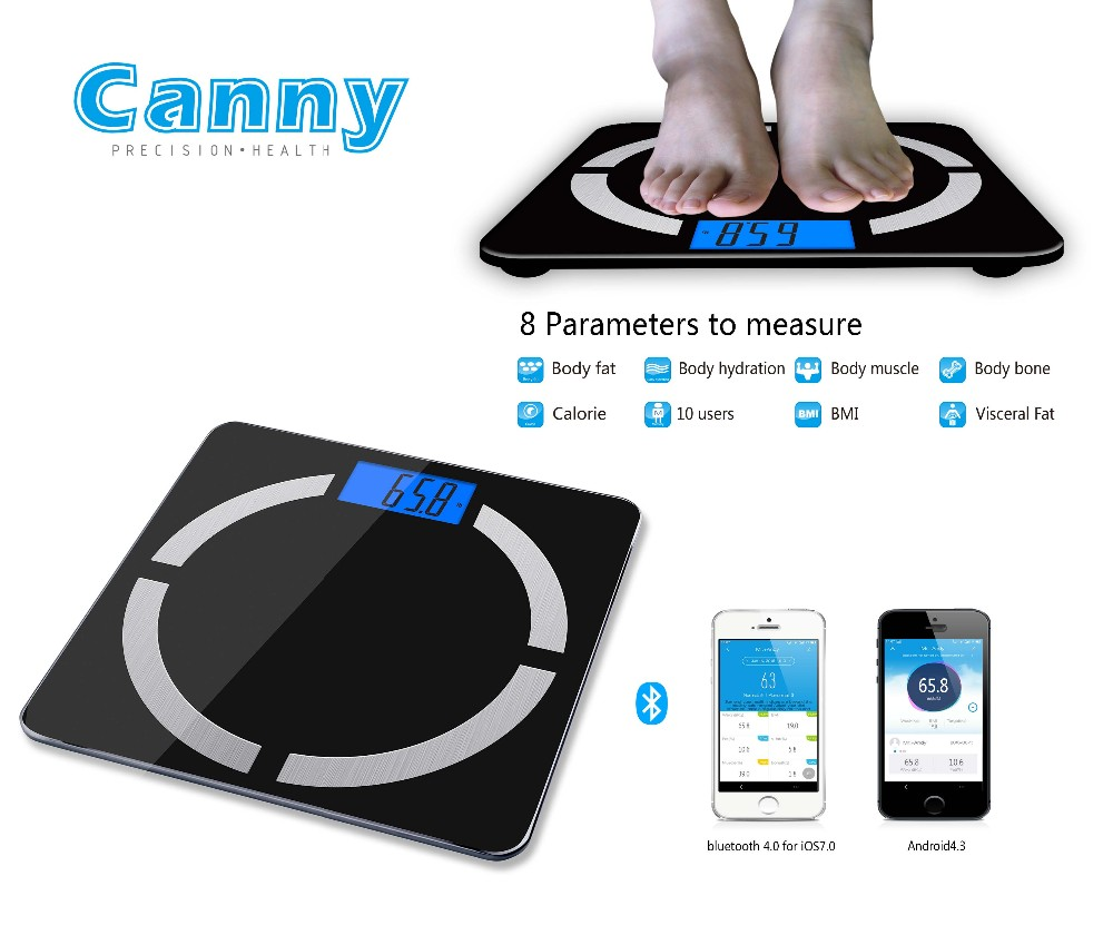 Bluetooth Smart Connected Body Fat Scale with Large LCD display