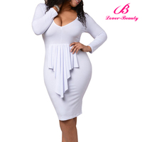 Cheap Four Color Sexy Ladies Sexy Fat Women Dresses with Long Sleeves