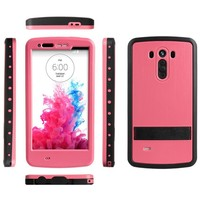 Hard Phone Case With Stand For LG G3 TPU +PC Back Cover 10 Colors
