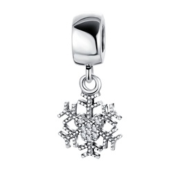 LZESHINE CZ Diamond Snowflake Bead Charm 925 Sterling Silver Pendant for Jewelry DIY PDMB0459