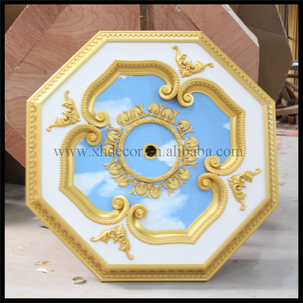 Luxury octagonal red rose and white classic ceiling design plastic ceiling panel
