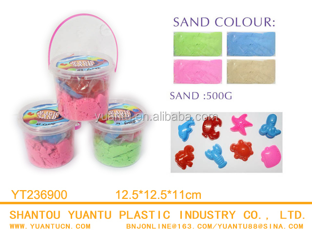 Educational Little Round Bucket Magic Sand With Molds Space Magic Sand Toys