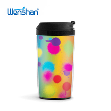hot sale plastic travel mugs plastic double wall coffee cup with lid