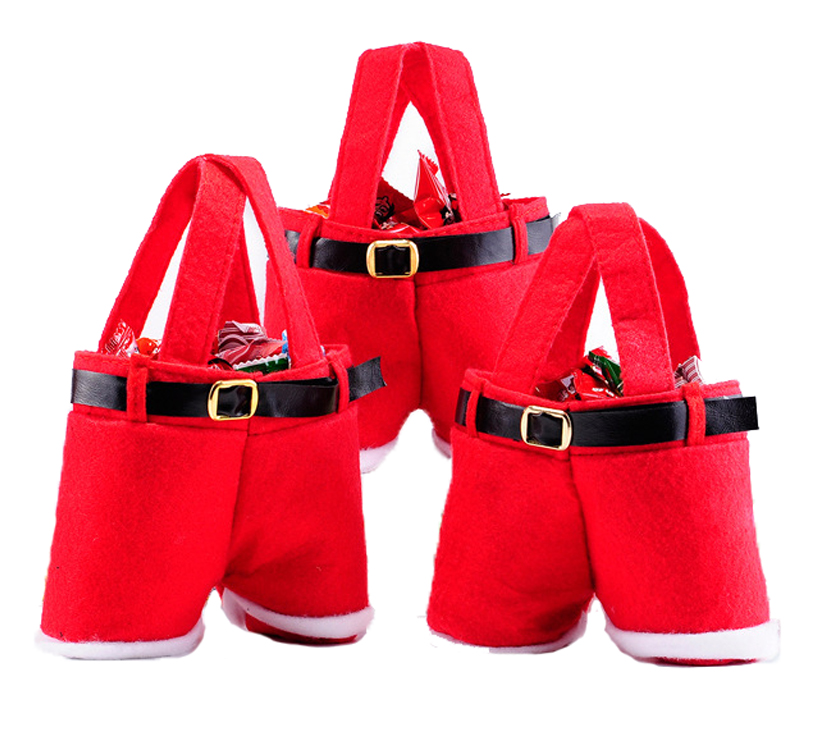 Cute Pants Christmas Stocking Candy Bag,Red&White Color Felt Christmas <strong>Decoration</strong>