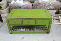 Distressed Wood Coffee Table End Table With Shelf and Side Drawer