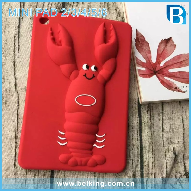 For iPad mini 2 3 4 5 6 Silicone 3D Tablet Case Shockproof Cartoon Lobster Shell For iPad Pro Cover
