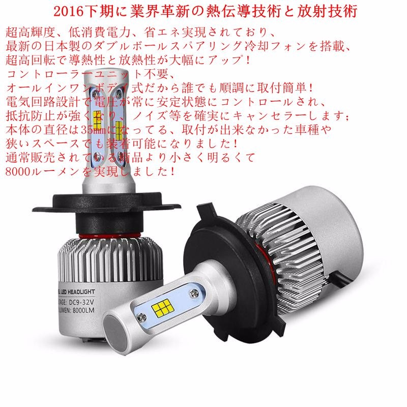 2016 NEW Arrival high quality S1 S2 LED headlight H4 H7 H11 H13 9005 9006 IP65 car LED headlight bulbs