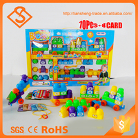 New design portable plastic block creative bricks toys with 8 page card