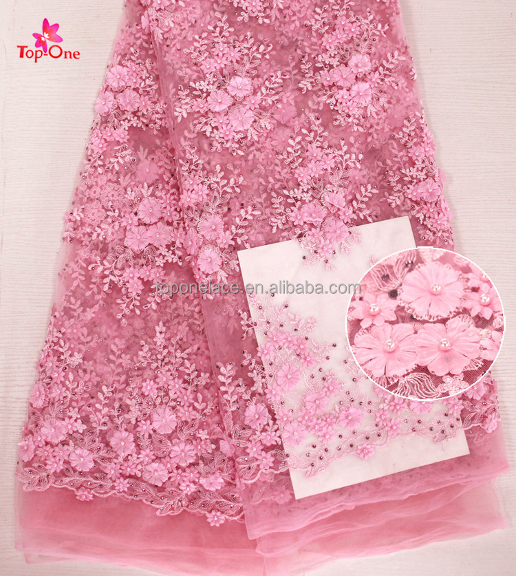 New Arrival Design Baby Pink French Lace Fabric 3d flower Embroidered Lace Fabric/Peals Lace Fabric For Wedding Bridal Dress
