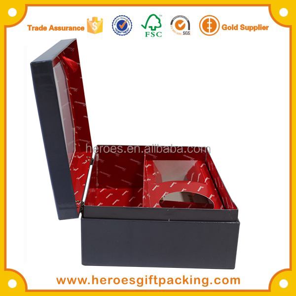 Trade Assurance Luxury Metal Gold Hinge Close Clamshell Paper Wine Box With PET Clear Window