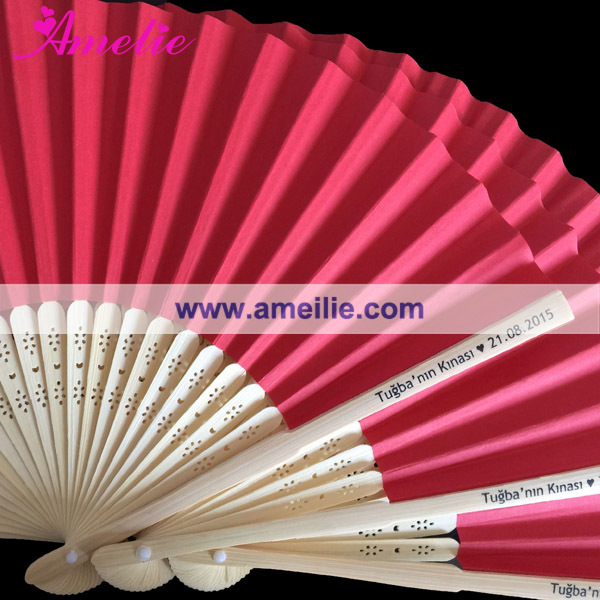 Bridal Party Gifts Customized Logo Printed Wedding Quality Hand Fans