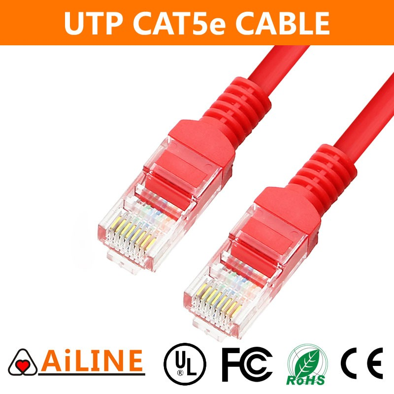 AiLINE High Quality Red 4 Pairs Copper Conduct Lan Cat5e Network Cable