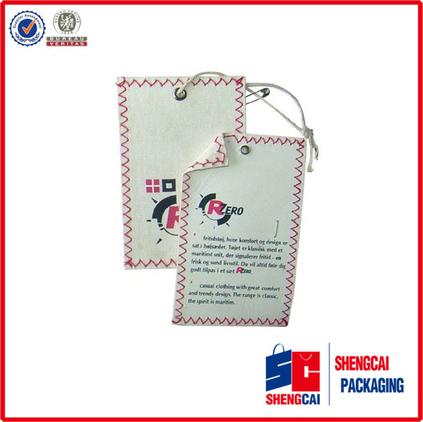 High quality custom printed paper garment brand hangtag for clothing