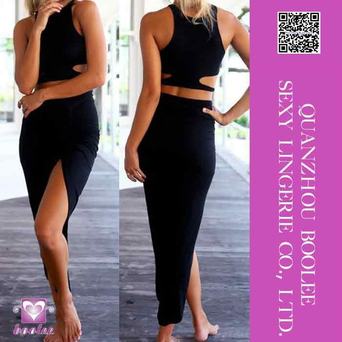 Latest cheap price most popular Sexy Front Split Long Black Dress