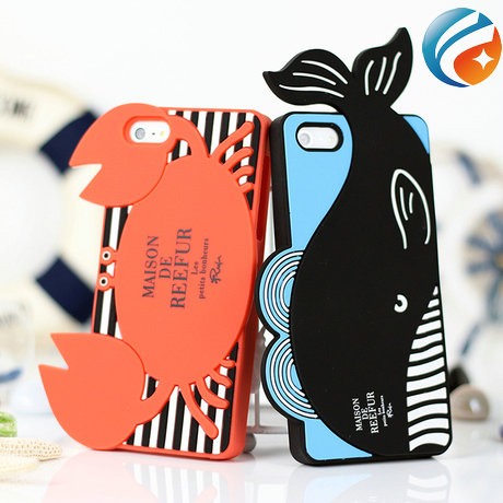 2014 New 3D Crab Whale Silicone Animal Shaped Phone Case for iphone 5 5s