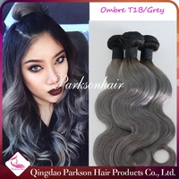 New arrival ombre color black/gray 100% virgin human hair weaving extensions alibaba express wholesale