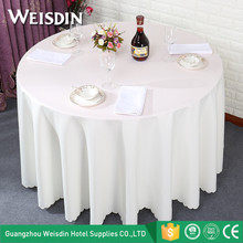China Factory Wholesale Custom Restaurant Table Linens White Polyester Round Wedding Table Cloth