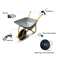 24v 36v 48v 200w 350w 500w Electric Wheelbarrow Kit With High Torque Gear Hub Motor and Off-road RoughTyre For Farm Sand beach