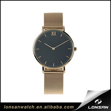 Classical Fashion Wrist Watch Rose Gold Mesh Band Copper Case High Quality Brand Lady Watches