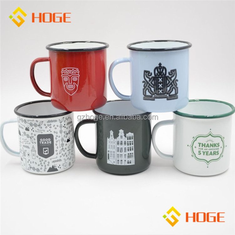Many Styles Custom Logo Printing Enamel Mug Coffee Beer Tin Mug Camping Water Container Manufactures Wholesale