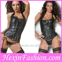 Wholesale Sexy Black Leather Corset With Straps