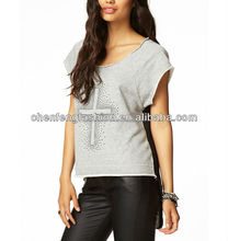CHEFON Rhinestoned Cross High-Low Contrast Back Raw Edges Cut T-Shirt CB0707