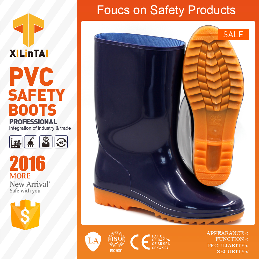 men clear pvc rain boots, using Safety Shoes farming rain boots