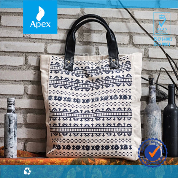 printed canvas beach bag