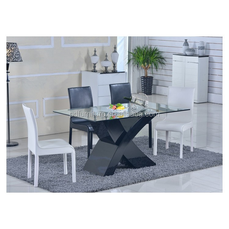 Dining room furniture long narrow 6 seater glass dinning table with x base