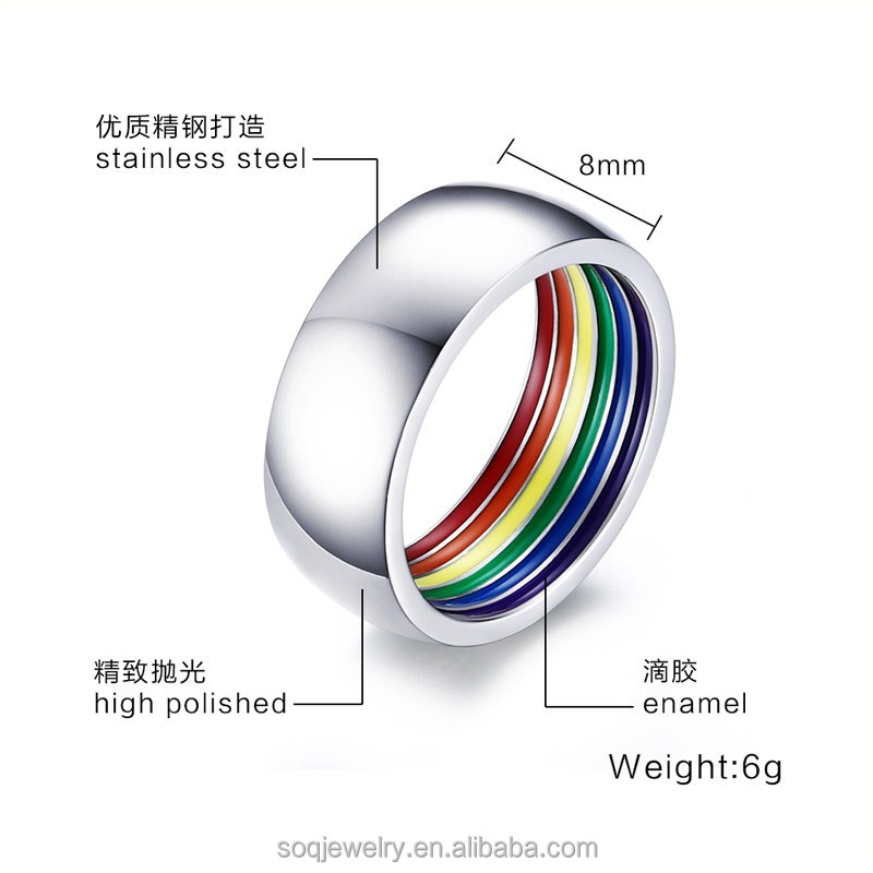 Wholesale Lots Mixed Rainbow Rubber 316L Stainless Steel Ring Band Gift Made In China