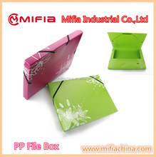 Custom A4 A3 size plastic PP files box, file folder carrying case, document file case with printing