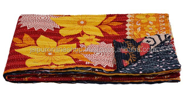 Assorted Bangali Vintage Kantha Throw Blanket from India