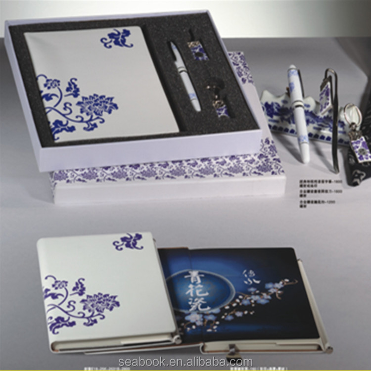 Office gift set with printed blue and white porcelain