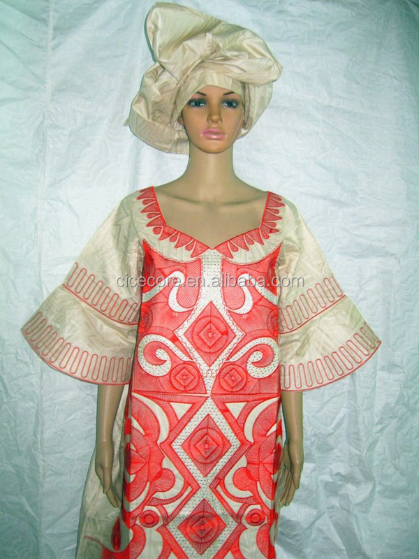 2015 new african bazin design fashion design bazin riche material embroidery dress long dress with headtie(1.6m long)