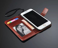 Wallet Card Holder Crazy Horse Skin PU Leather Magnetic Stand Flip Cover Phone Cases for iPhone SE 5S 6S Plus
