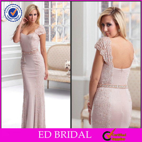 EDM082 Hot Sell Crystal Belt Cap Sleeve Mother of the Bride Evening Sequins Beaded Dresses