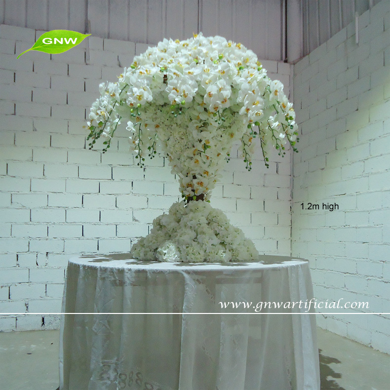 GNW 4ft white wholesale wedding table tree centerpieces with artificial flowers orchid for wedding decotion