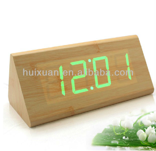 latticed LED wooden clock with date temperature display touch control