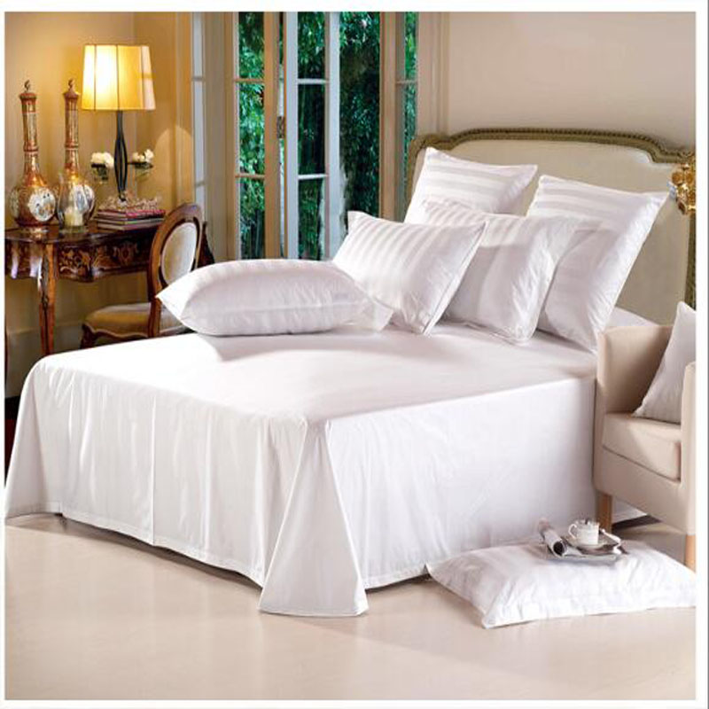180TC 50% polyester 50% cotton plain woven hotel bed sheet and bed spread