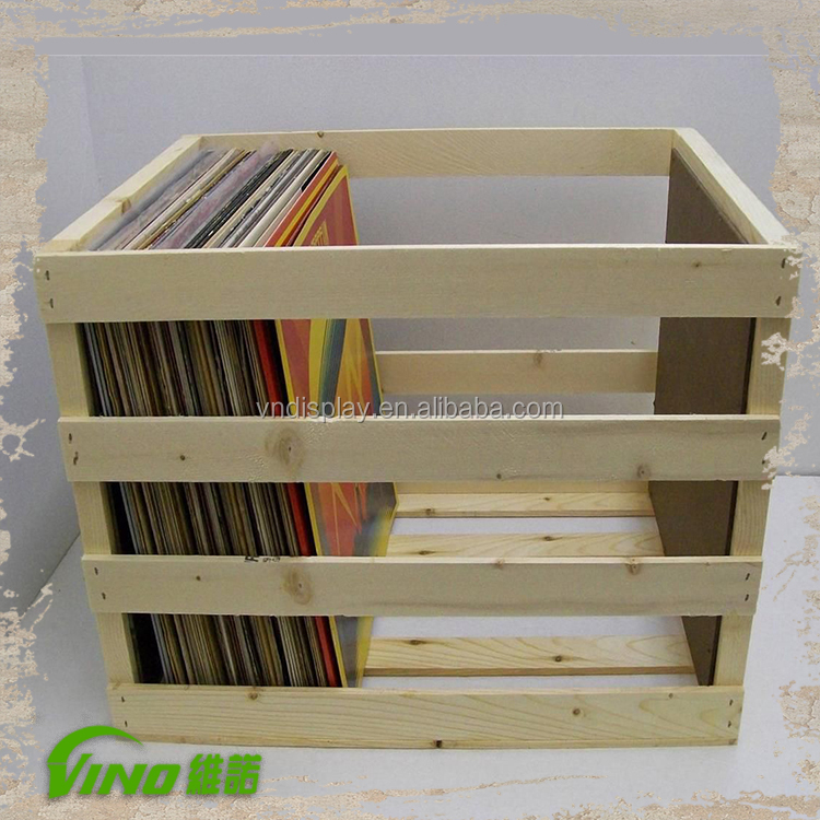 CD Display Rack, Wooden CD Box, Wood DVD Case Crate