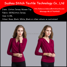 Front Opening Cotton Jersey Knitted Ladies Long Sleeve Blouses