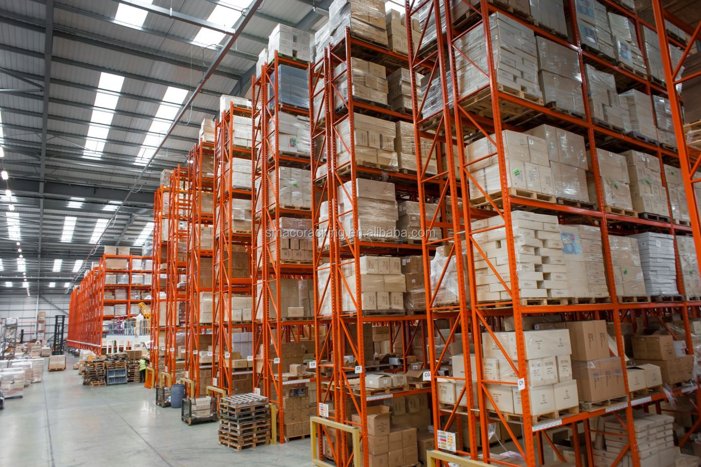 Roll-formed Steel Industrial Warehouse Double Deep Position Pallet Racking