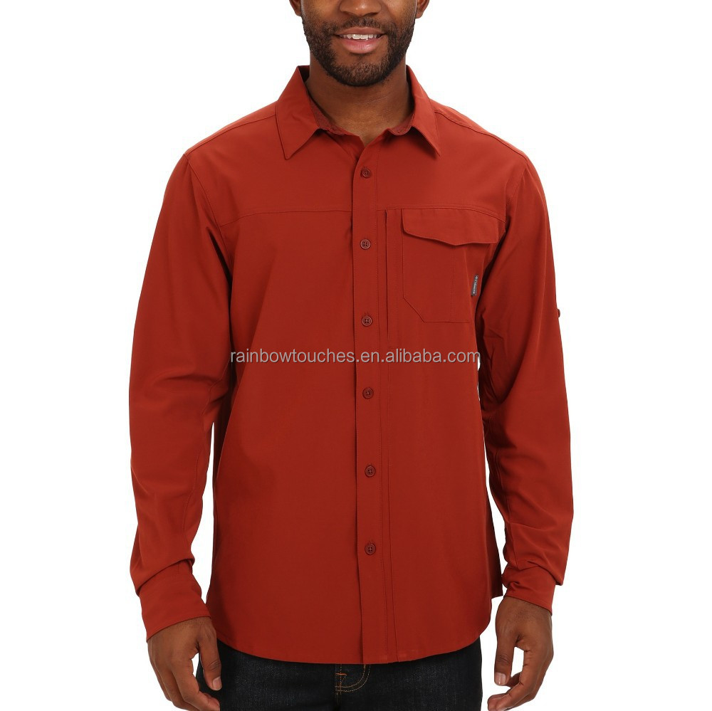 Polyester Roll-up Sleeves Flap Chest Pocket Man Long Sleeve Shirt