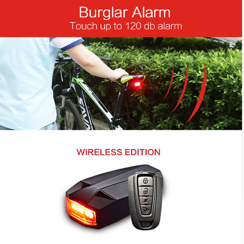 WHEEL UP USB Rechargeable Telecontrol LED Anti-theft Alarm Taillight Bike Light Bicycle Safety Warning Rear Light Cycling Light