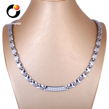 wholesale fashion stainless steel heathy pure germanium zircon energy necklace for men women ideal gift for couple