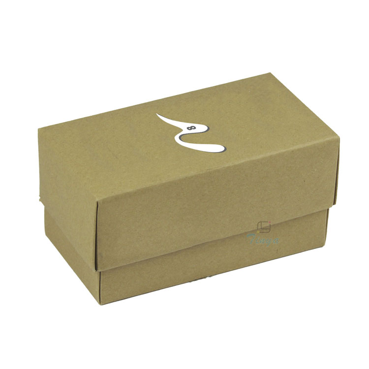 Small brown kraft paper box with lid